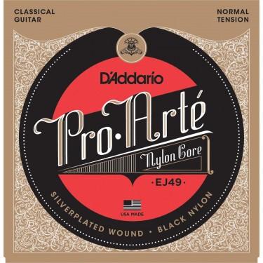 D'Addario EJ49 Pro-Arté Black Nylon, Normal Tension. Classical guitar strings