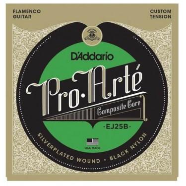 D'Addario EJ25B Pro-Arté Black Nylon. Cordes de guitare flamenco