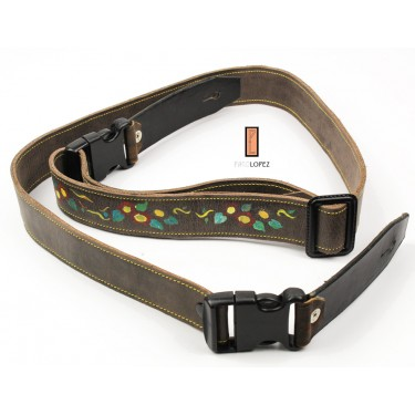 Guitar strap Paco Lopez PLE-11 BR for acoustic and electric guitar